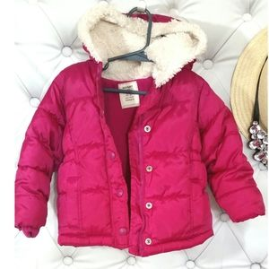 Hot Pink Hooded Puffy Jacket Toddler Girls 2T